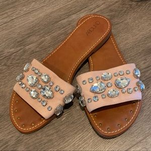 Jeweled slide sandals